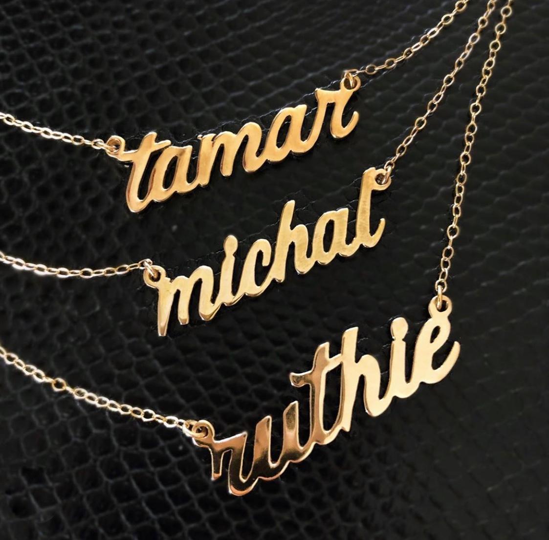 Script Necklaces are a fashion staple!