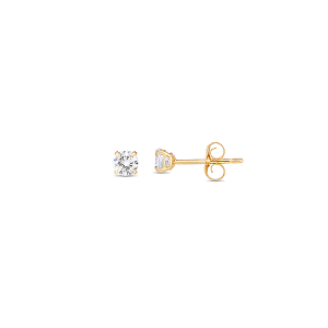4mm Gold Solitaire Stud Earrings