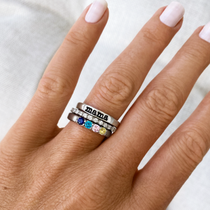 Four Birthstone Mothers Ring Stack