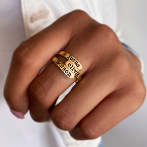 Personalized Overlapping Three Name Ring