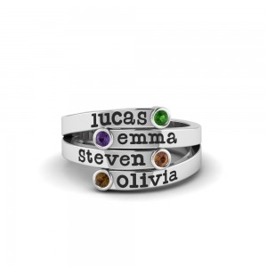 Four Birthstone Mothers Ring