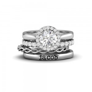 Twine Personalized Halo Engagement Ring Stack