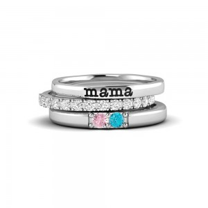 2 Birthstone Mothers Ring Stack