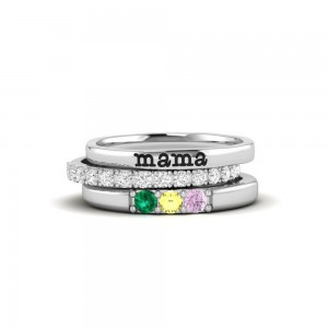 Three Birthstone Mothers Ring Stack