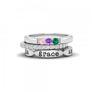 Mama of Three Birthstone Personalized Ring Stack