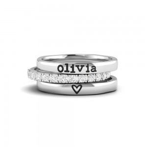 Love You Personalized Ring Stack