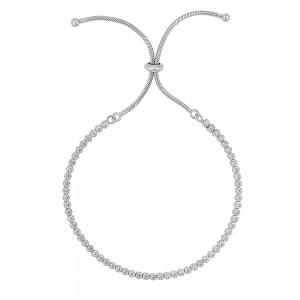 Silver CZ Bolo Bracelet