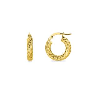 10mm Gold Croissant Hoop Earrings
