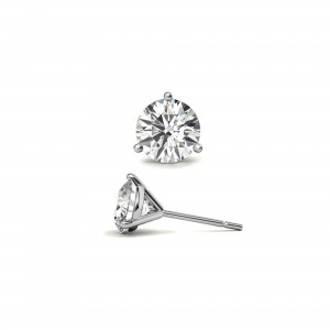 Single 1 Ct Round Moissanite Martini Stud Earring