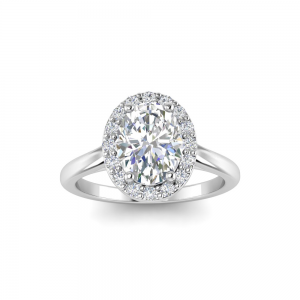 1.40 Ctw Oval CZ Halo Engagement Ring