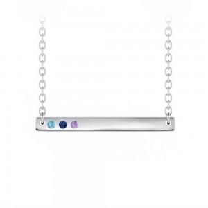 Birthstone Vertical Bar Name Necklace