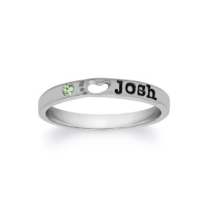 Personalized Single Stone Footprint Ring