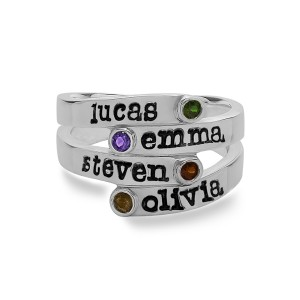 Personalized Overlapping Four Stone Ring