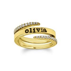 Personalized Diamond Tusk Ring