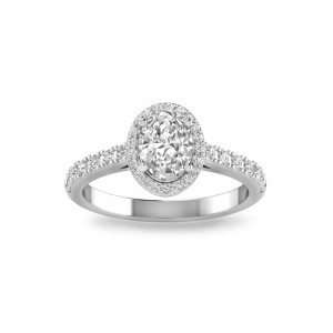 Oval Stone Pave Halo Ring