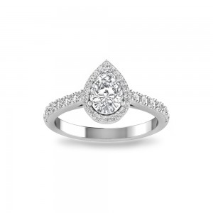 Pear Stone Pave Halo Ring