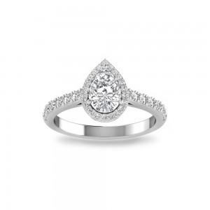 Pear Pav� Halo Engagement Ring