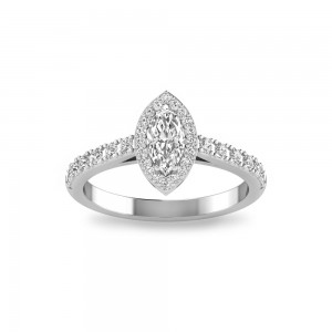 Marquise Stone Pave Halo Ring