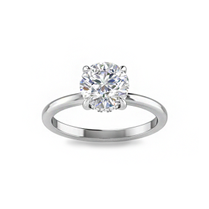 2 Ct Round Moissanite & .11 ctw Diamond Hidden Halo Engagement Ring