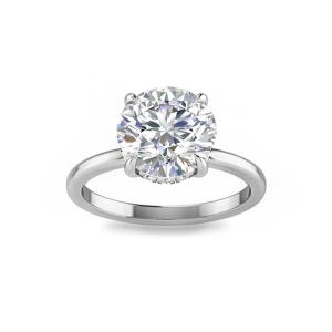 4 Ct Round Moissanite & .12 ctw Diamond Hidden Halo Engagement Ring