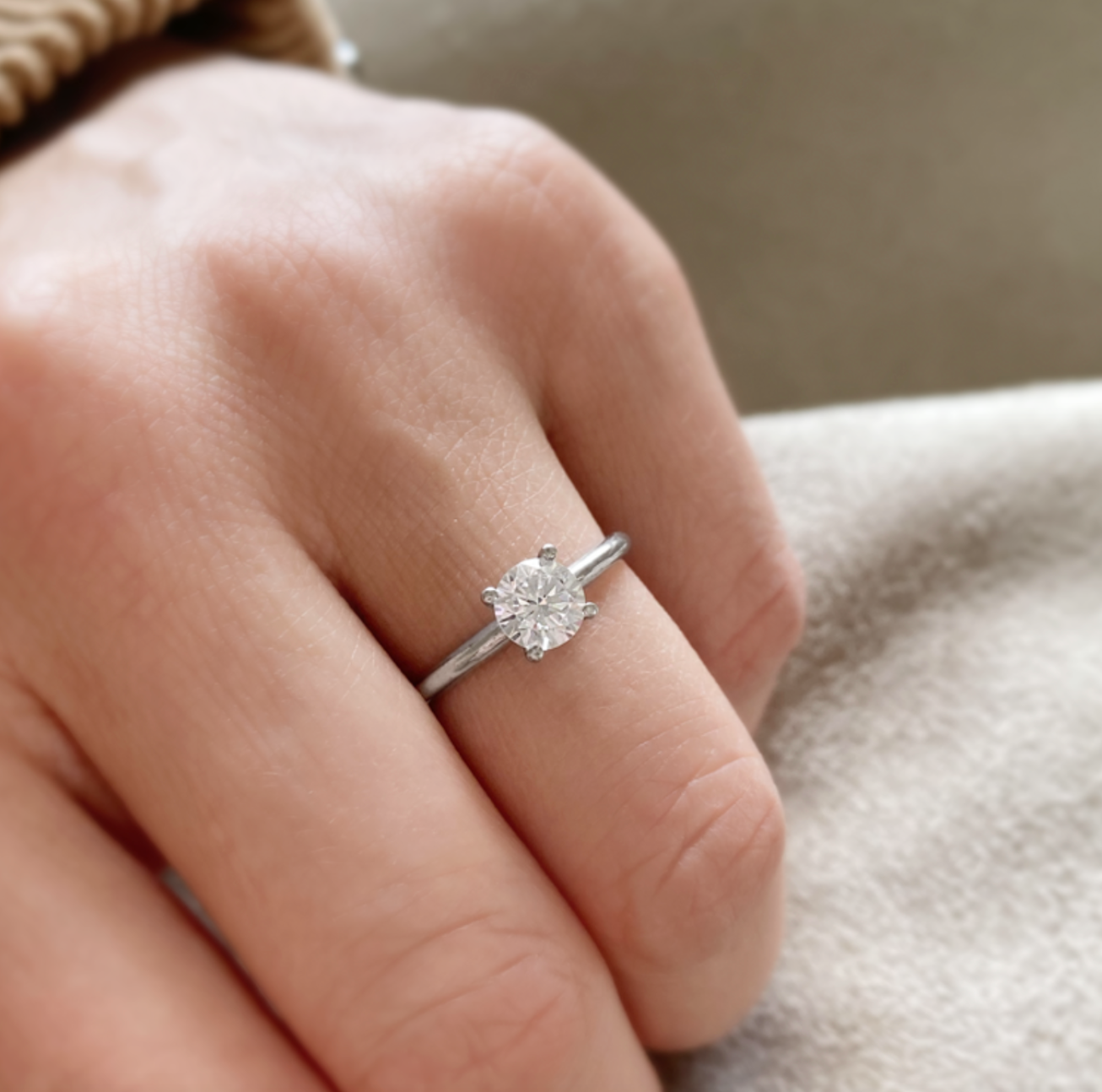 Classic Round Stone Solitaire Ring